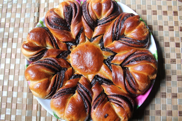 Nutella Flower Bread Recipe - How to Make Nutella Star Bread Recipe - Eggless Recipe