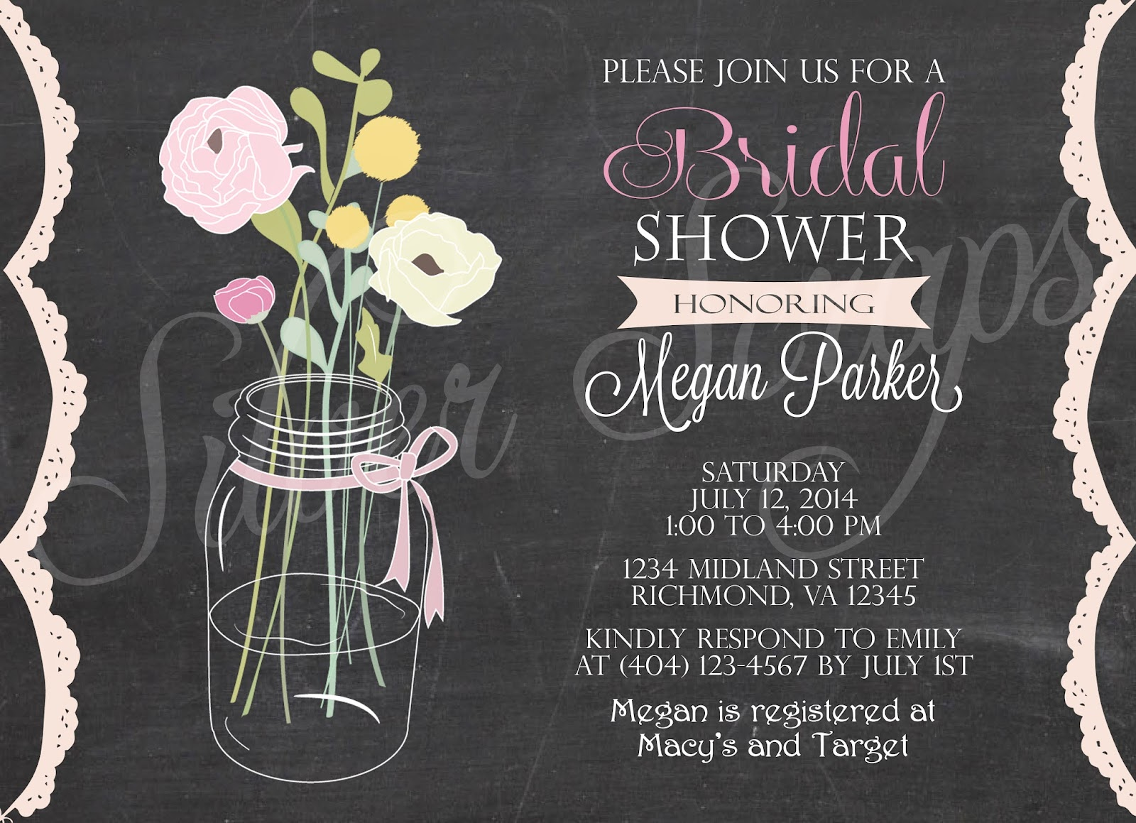 Chalkboard Vintage Mason Jar with Flowers - Custom Rehearsal Dinner, Bridal, Baby Shower, Engagement Party, Luncheon Invitation - 5 Designs rustic barn wedding vintage lace doily white black light dark pink teal blue green yellow bridesmaids brunch
