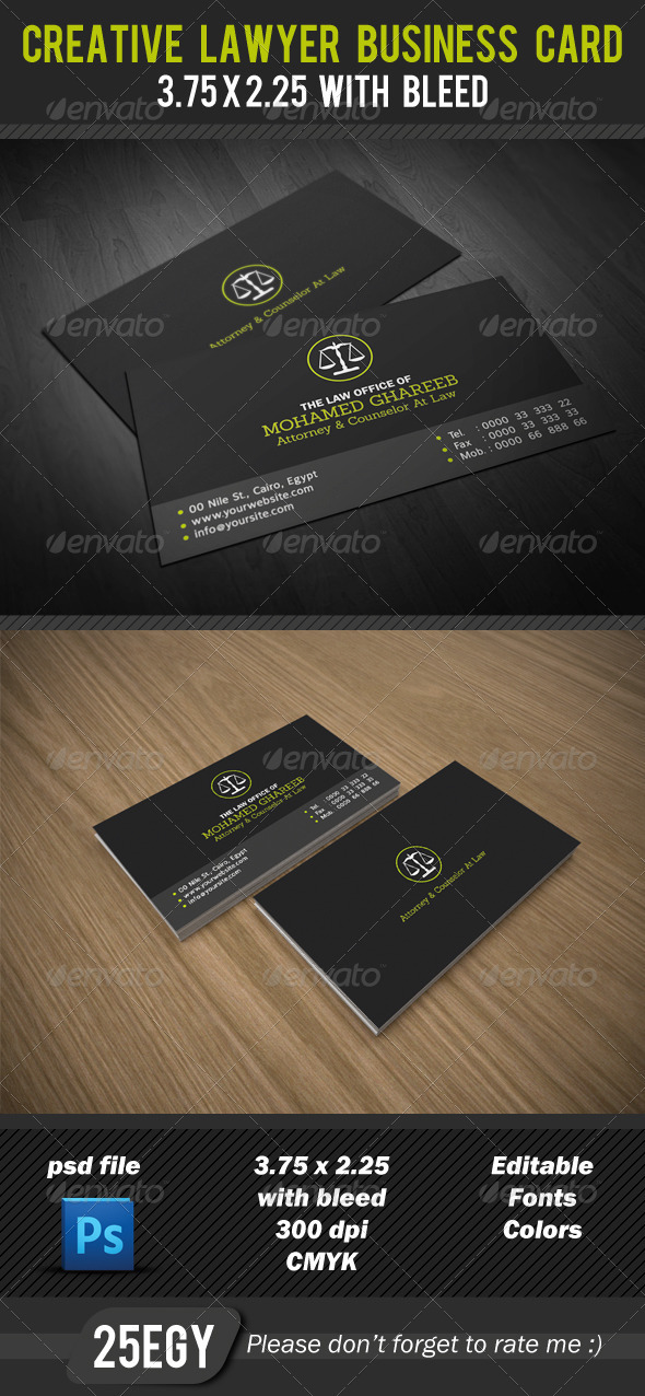 Creative lawyer business card print templates creative simple lawyer business card 2 side easy to customize editable 375225 with trim bleed area cmyk color mode 300 dpi print ready colourmoves