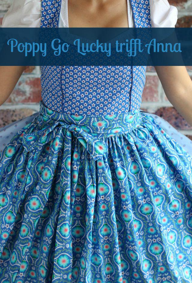 Dirndl selber nähen blau türkis Schürze aus Poppy Go Lucky Stoff