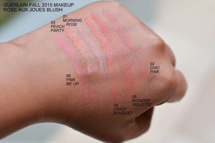 Guerlain Rose Aux Joues Blush Swatches Bloom of Rose Fall 2015 Makeup Collection 06 Pink Me Up 03 Peach Party 01 Morning Rose 04 Crazy Bouquet 05 Wonder Violette 02 Chic Pink