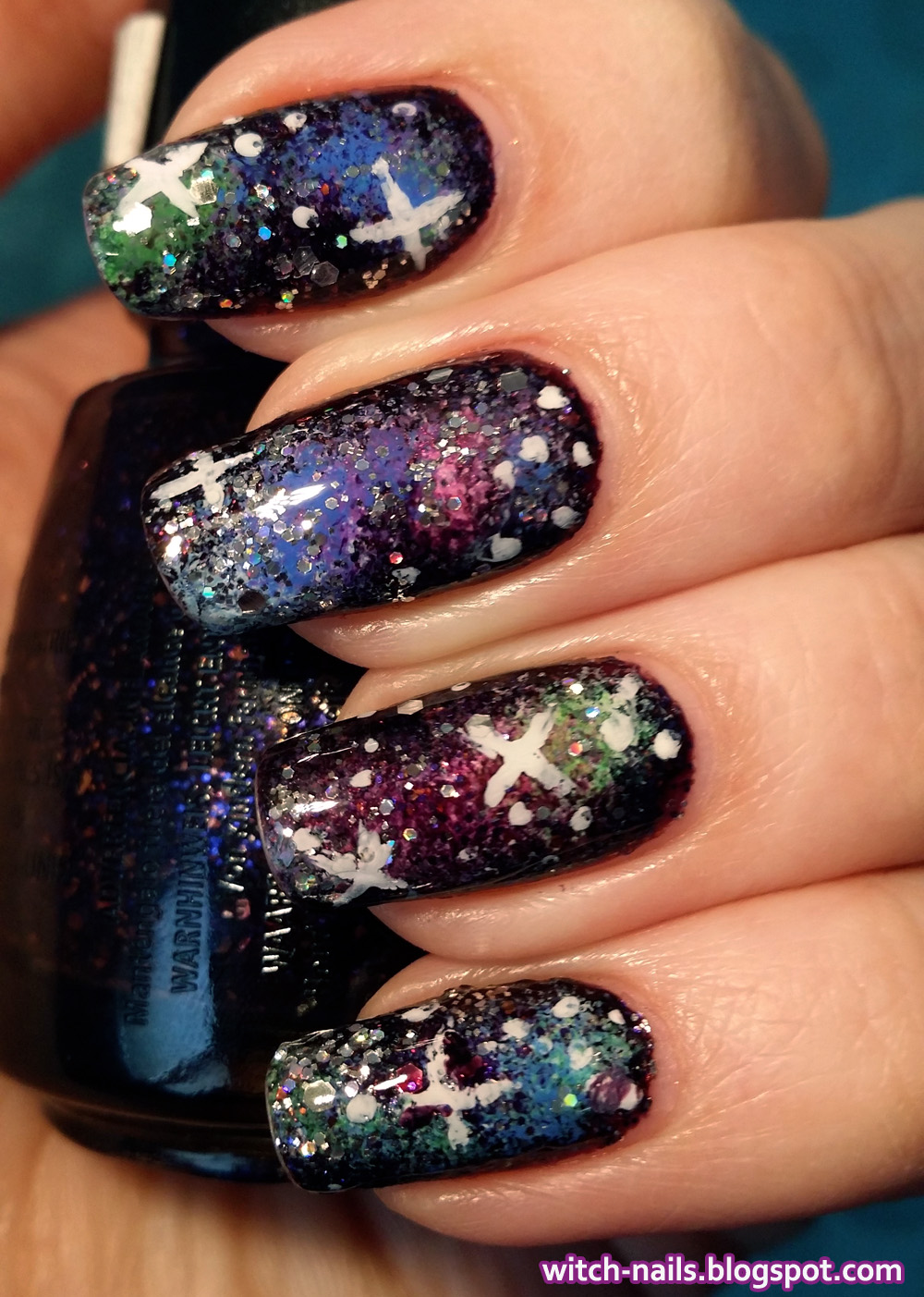 galaxy manicure using china glaze Howl You Doin