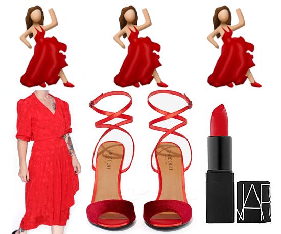 Red dress dancing emoji funny