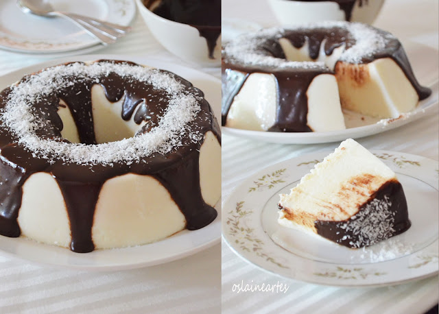 Manjar de Maria Mole de Coco com Calda de Chocolate