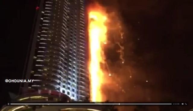 Bangunan Hotel Address, Dubai terbakar pada malam tahun baru