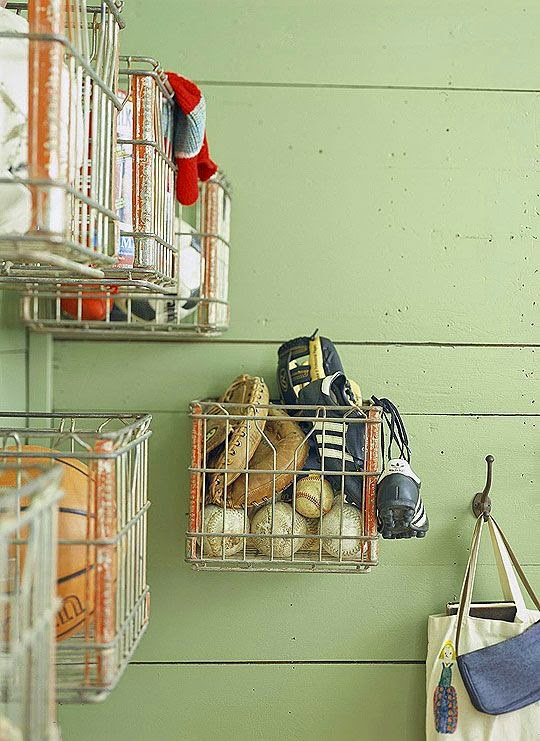 storage organization decorating ideas with metal baskets