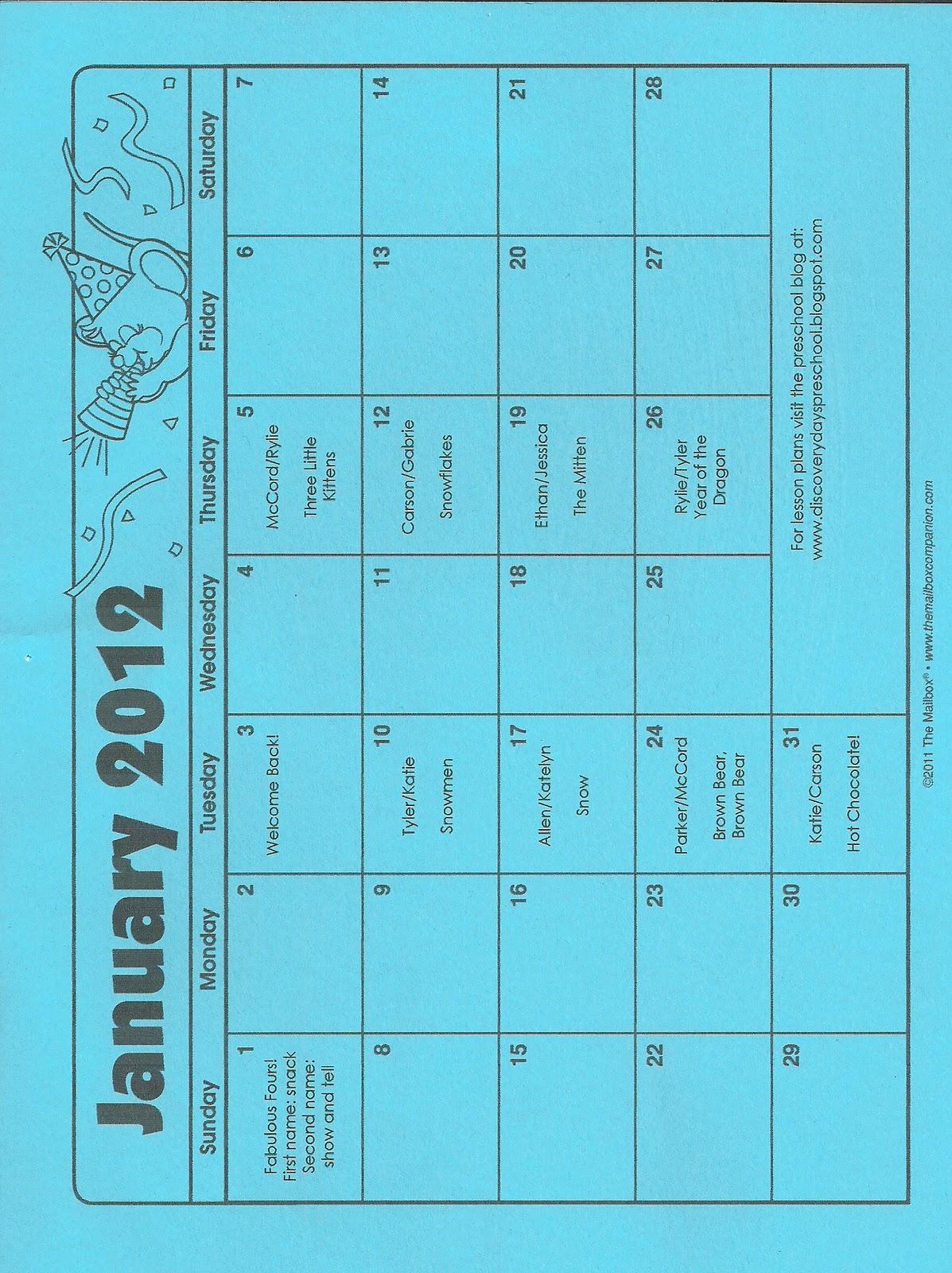 January Calendar Preschool : Discovery days preschool january calendar and lesson plans