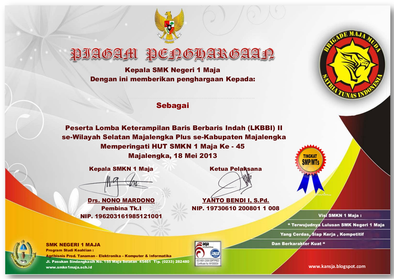 Contoh Desain Piagam Penghargaan LKBBI SMKN 1 Maja Kab.Majalengka