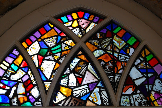 Jumbled stain glass from Wells Cathedral