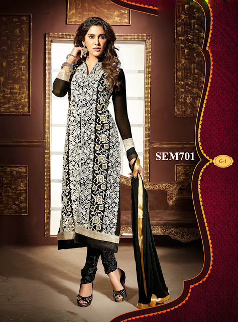 Latest Faux Georgette Embroidery Long Salwar Kameez