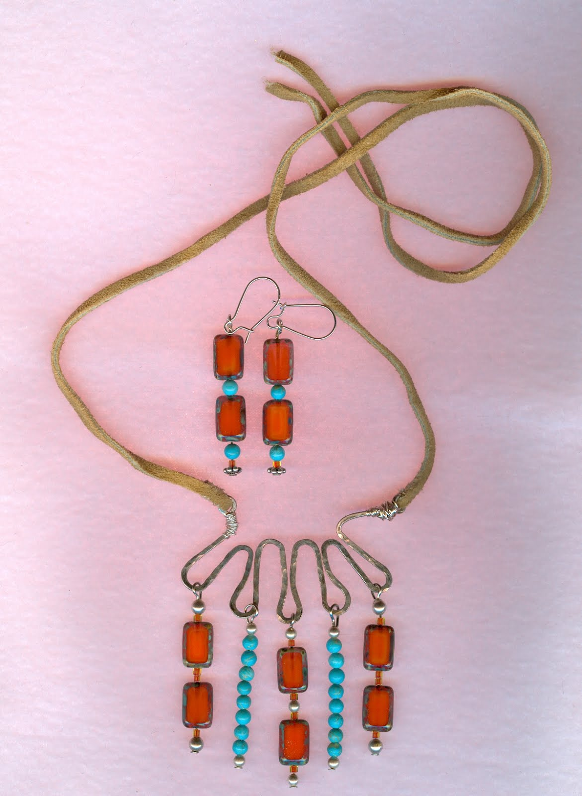 Bohemian necklace and earrings
