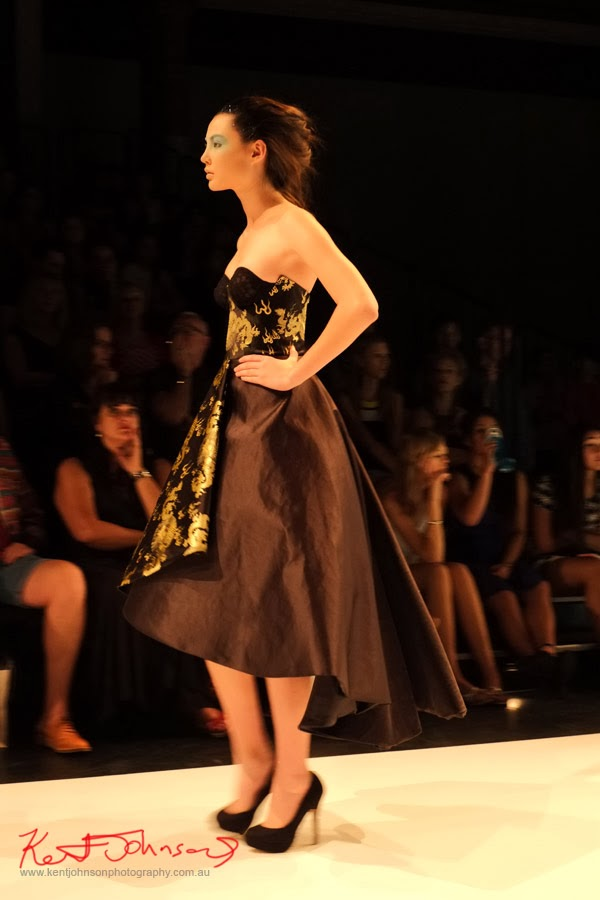 Emma MacGregor, evening dress in black silk with Asian details -  New Byzantium : Raffles Graduate Fashion Parade 2013 - Photography by Kent Johnson.