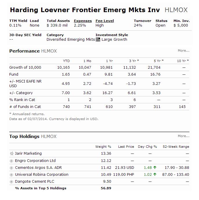 Harding Loevner Frontier Emerging Markets Fund - HLMOX