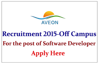 Aveon Infotech Conducting Off Campus for Post of Software Developer Trainee 2015
