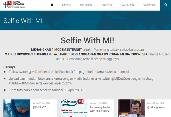 Kontes Selfie Berhadiah Modem Internet GRATIS
