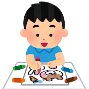 塗り絵をする男の子のイラスト