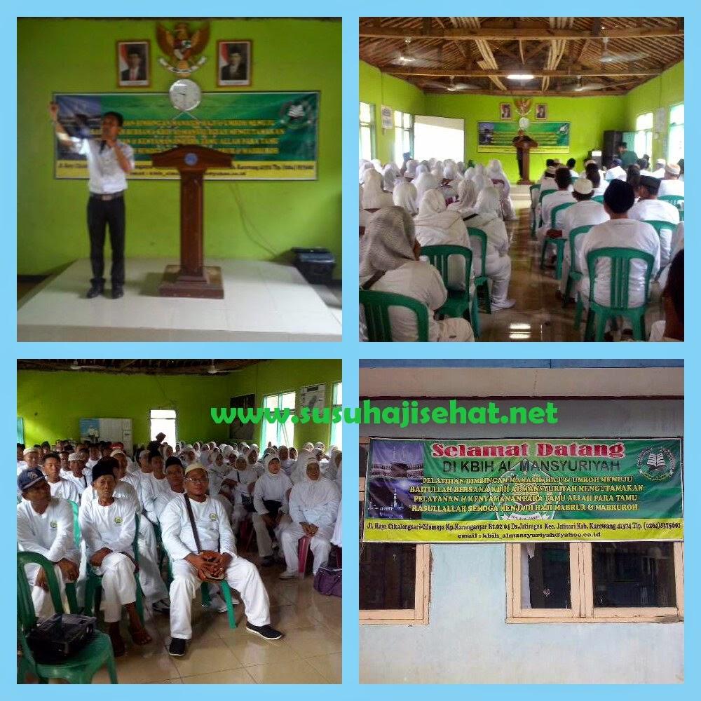 Edukasi kesehatan kepada calon jama'ah Haji KBIH Al- Mansyuriyah bersama Gema Hati dan Susu Haji Sehat Karawang