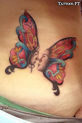 de Tatuagens Borboletas com Rosto nas Costa