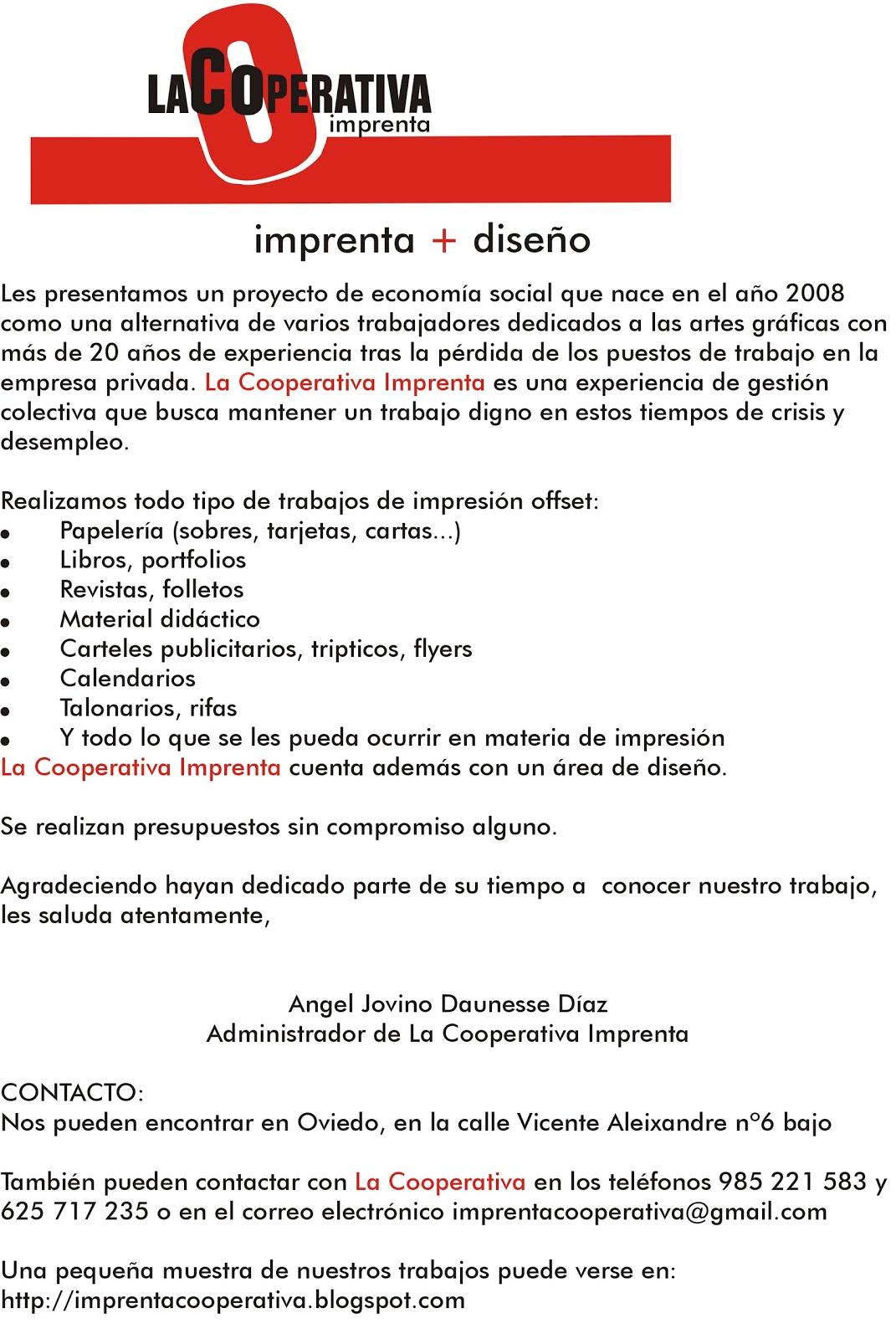 Imprenta La Cooperativa (Oviedo): Presentación y Contacto