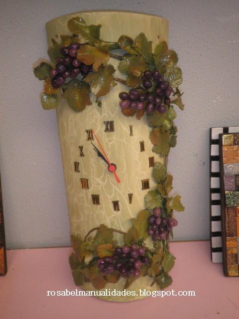 Rosabel manualidades teja decorada con racimos de uva - Como decorar tejas rusticas ...