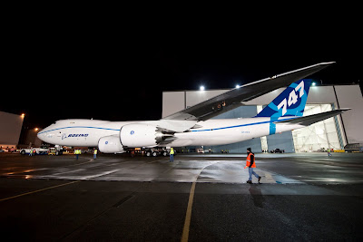 First Boeing 747-8 Freighter special light livery