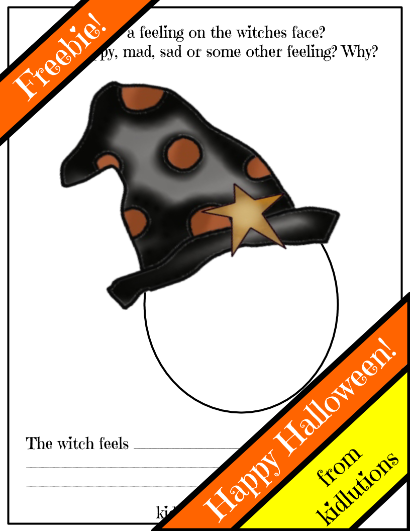 free printable feelings face witch for halloween