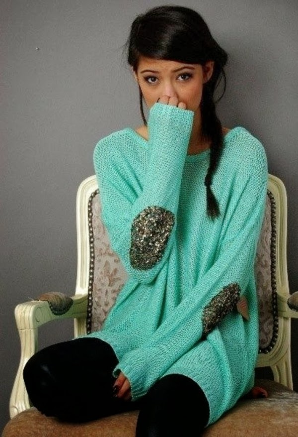 Sequin elbow patch mint sweater fashion style