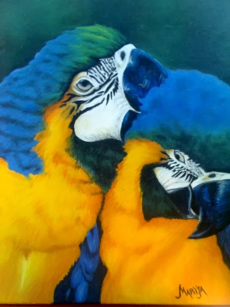 parrots painting, oil on canvas, oil painting technique, art,