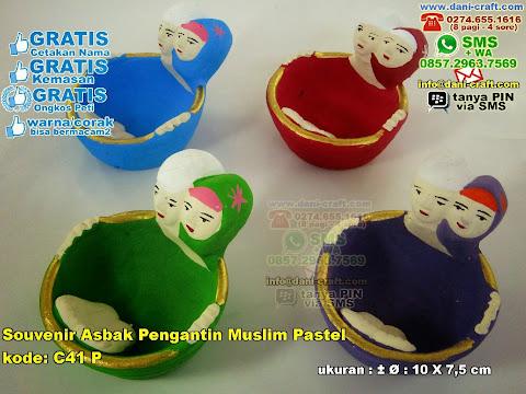 Souvenir Asbak Pengantin Muslim Pastel