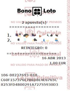 Sorteo de la Bonoloto del martes 16 de abril