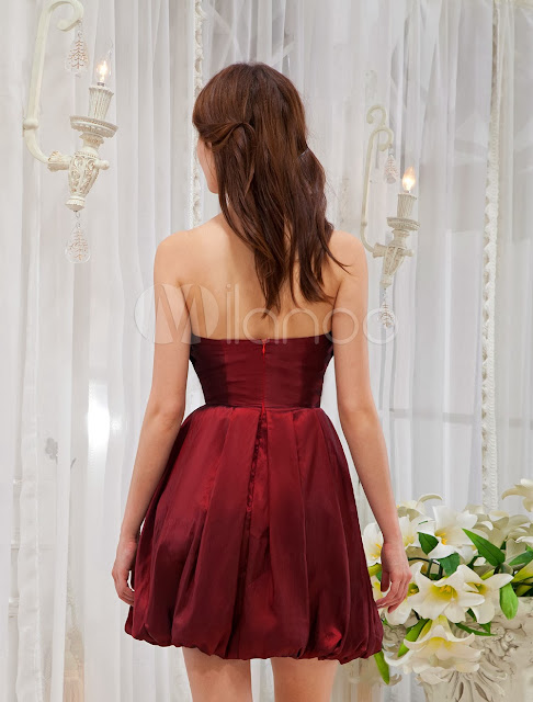 China Wholesale Clothes - Burgundy A-line Strapless Bow Charmeuse Cocktail Dress