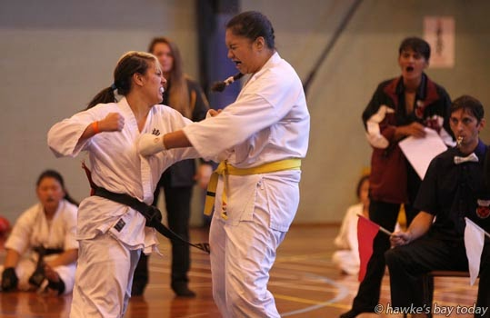 L-R: Jackie Wooster, Hastings, Michelle (surname not known), Gisborne - New Zealand Karate Organisation Kyokushin Matsushima Karate Championships at Hastings Sports Centre, Hastings photograph