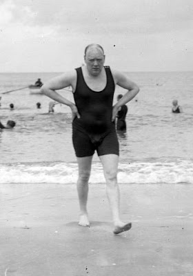 Winston Churchill at the Beach