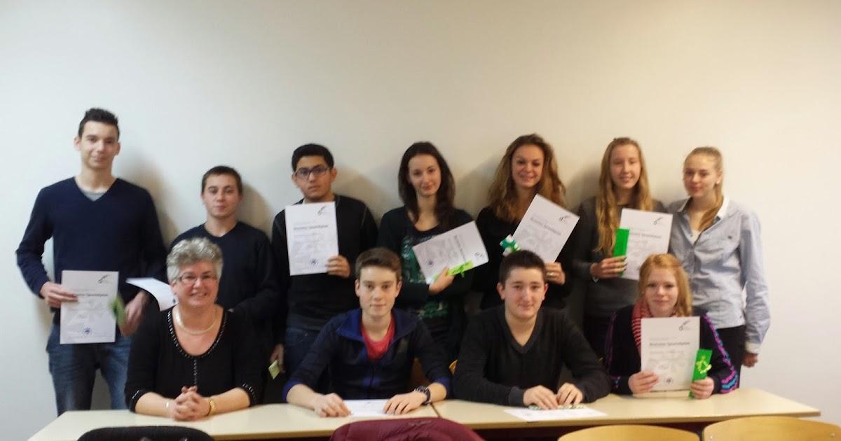 Cit u00e9 scolaire Alfred KASTLER   STENAY  Remise des certifications en langue allemande le 09