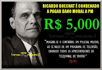 Ricardo Boechat é condenado a pagar R$ 5,000 por dano moral a PM
