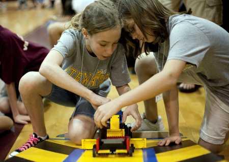The girls robotics team at Stewart Middle Magnet School, photgraphed