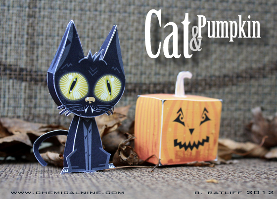 Pumpkin Cat Paper Toy