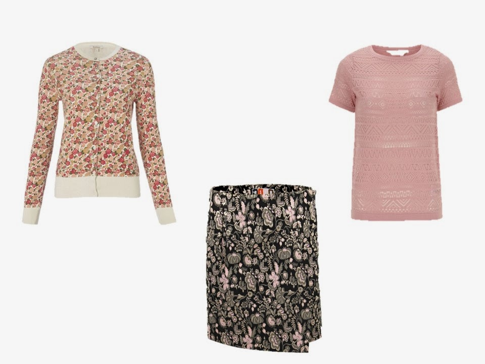 three rose floral garments to use with a neutral wardrobe