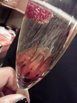 New Year 2013, champagne, hibiscus, raspberry
