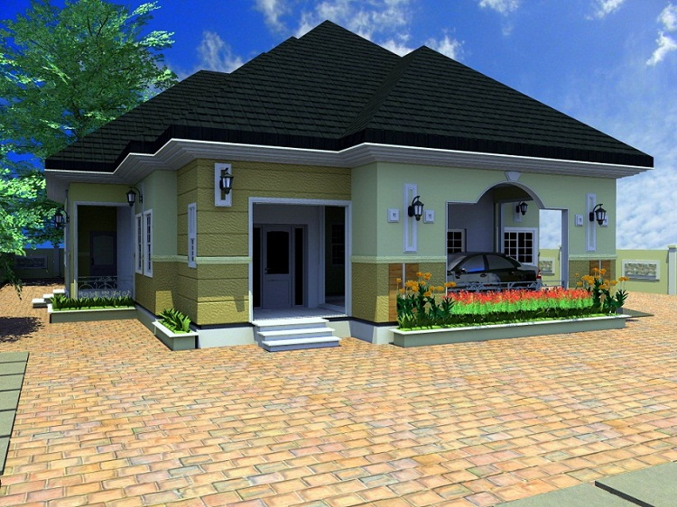 Residential homes and public designs 4 bedroom bungalow for Four room house design
