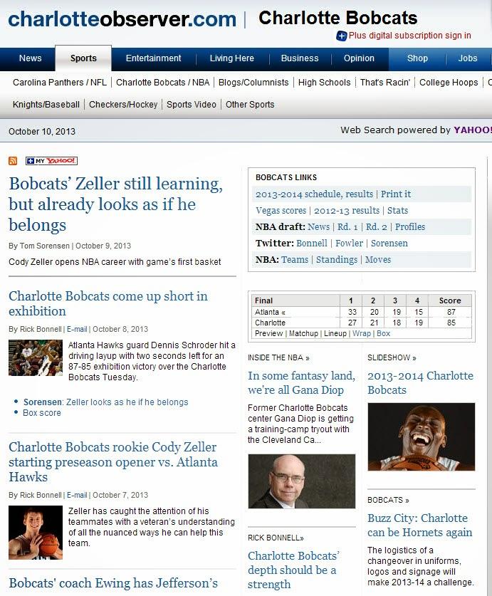 """Charlotte Observer"" Bobcats"