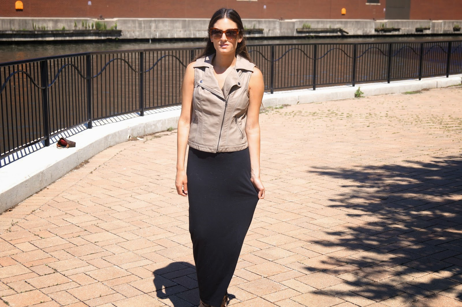 maxi skirt leather vest