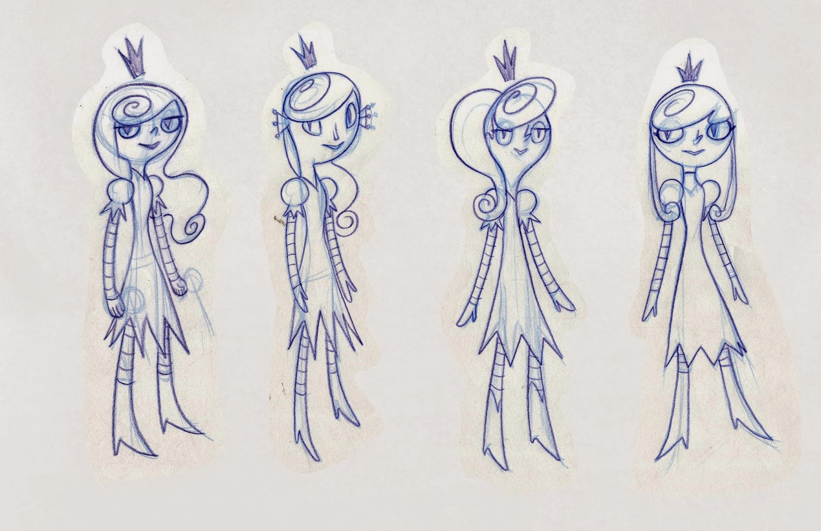 Early sketches of Princess Dagger from Galactic Hot Dogs