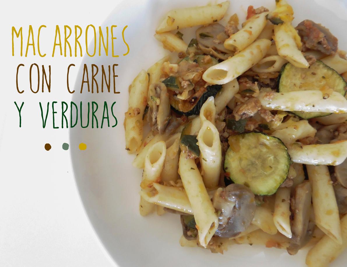 macarrones con carne y verduras receta
