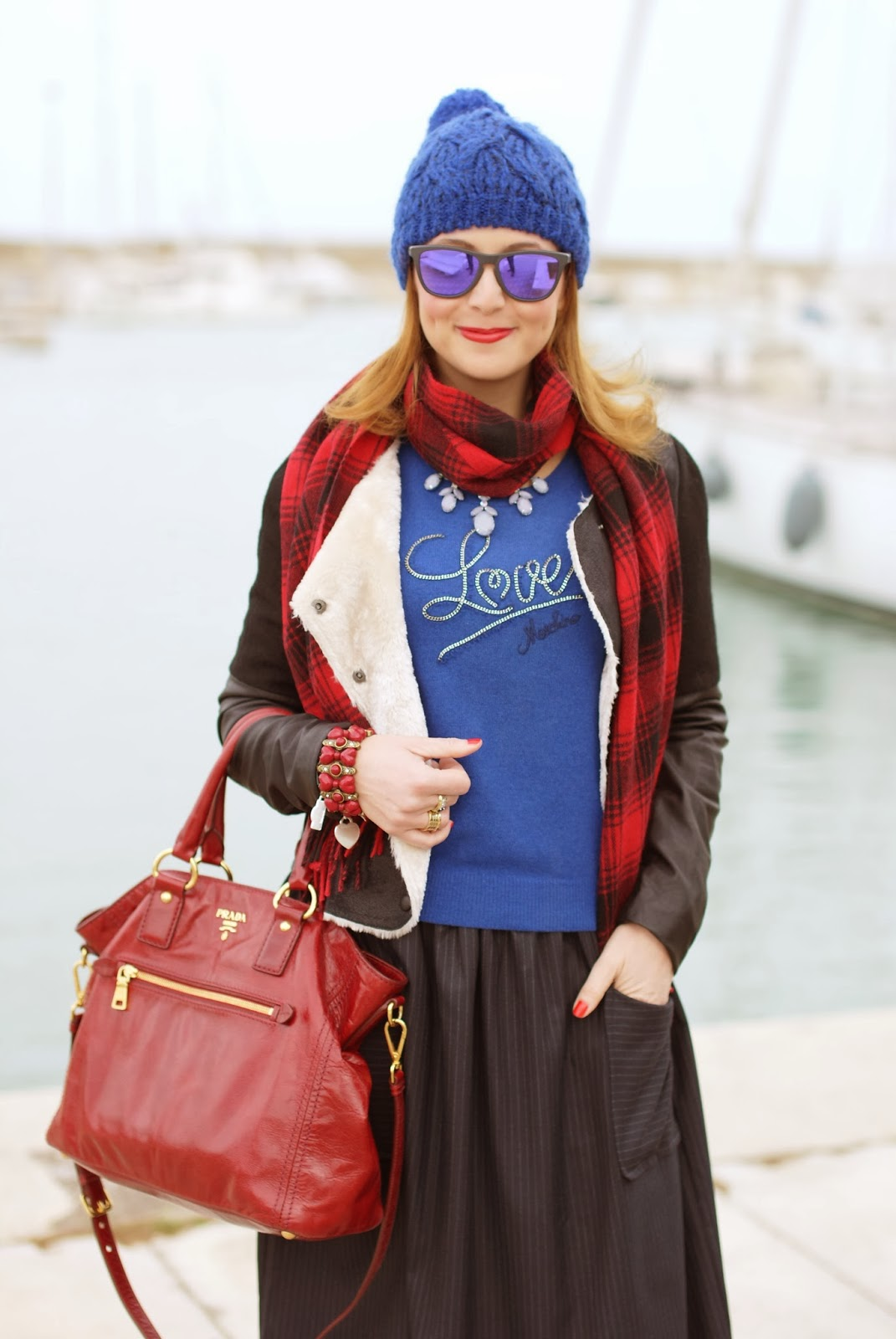 blue beanie, H&M plaid scarf, Love Moschino sweater, pinstripe midi skirt, Fashion and Cookies, fashion blogger