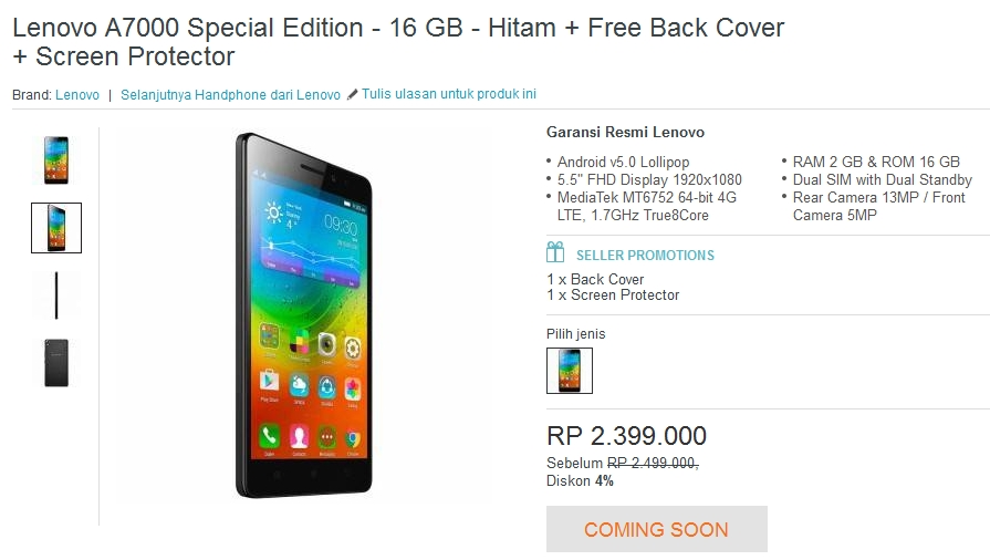 Flash Sale Lenovo A700 Special Edition Lazada