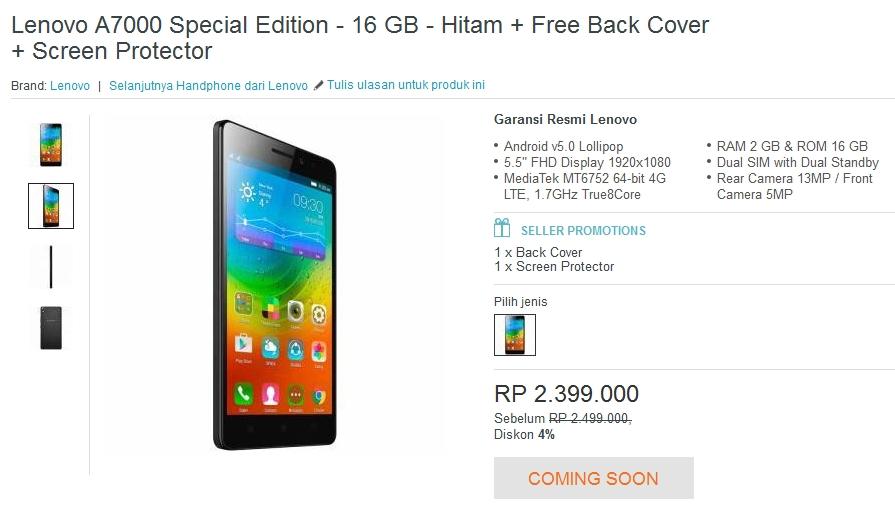 Flash Sale Lenovo A700 Special Edition Lazada Jam 3 Sore, Harga 2,3 juta Cashback 200 Ribu