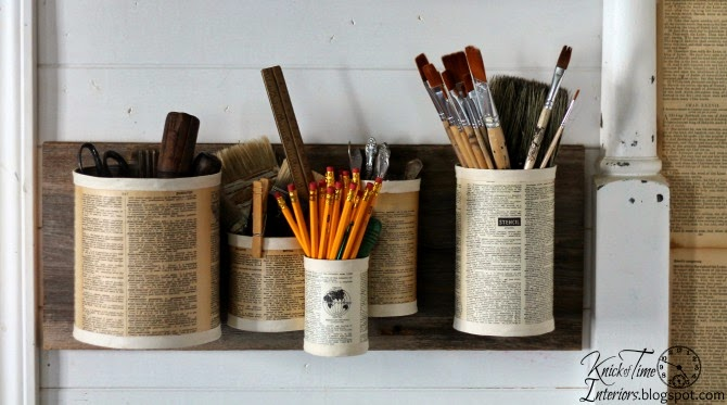 Repurposed Tin Can Wall Bins - Recycled Crafts - KnickofTime.net
