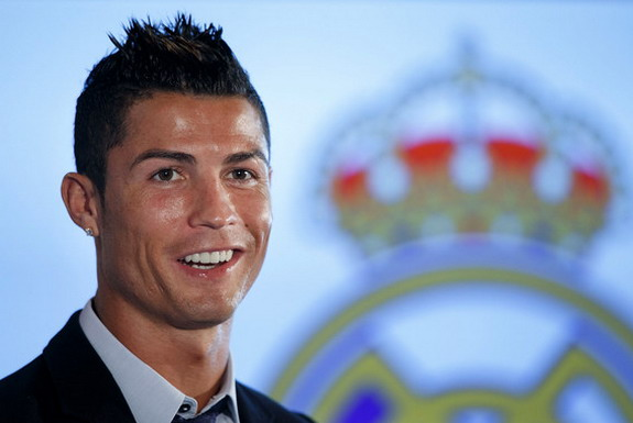 Cristiano Ronaldo speaks to the media after signing a contract renewal for Real Madrid