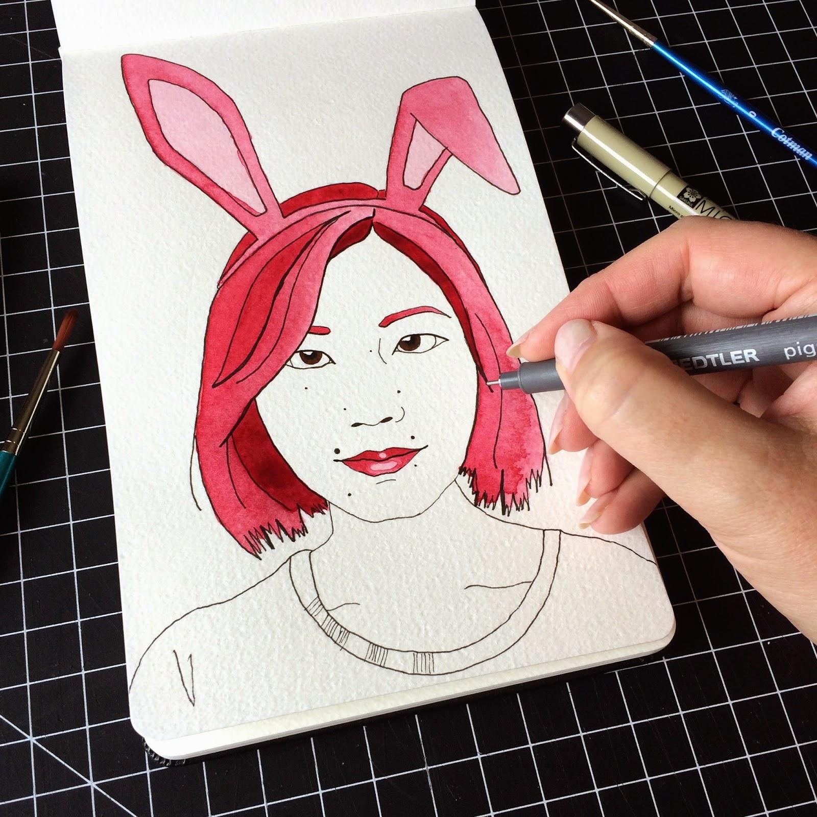 Inktober fashion illustration of Alice Gao by Jessica Mack aka BrownPaperBunny